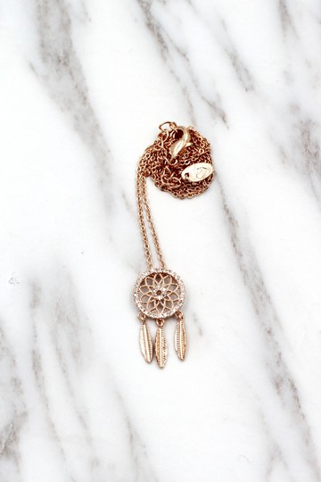 Ocean Fashion 925 Rose gold Fashion Dreamcatcher Crystal Necklace Image 6