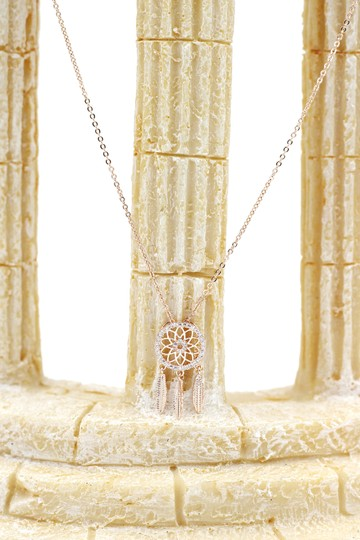 Ocean Fashion 925 Rose gold Fashion Dreamcatcher Crystal Necklace Image 7