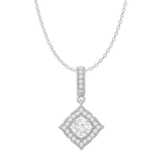 Preload https://img-static.tradesy.com/item/23557966/white-cubic-zirconia-halo-square-pendant-14k-gold-necklace-0-0-540-540.jpg