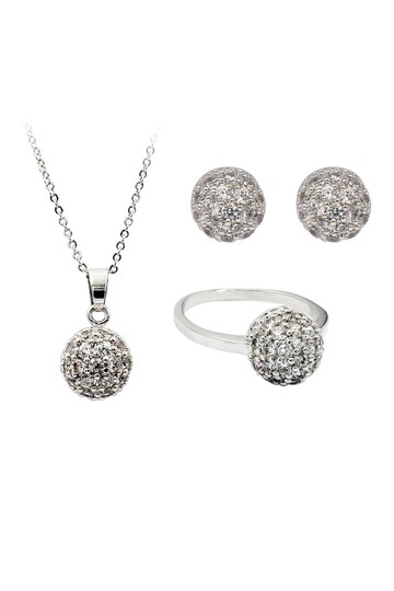 Preload https://img-static.tradesy.com/item/23557975/silver-small-crystal-hemisphere-three-piece-set-necklace-0-0-540-540.jpg