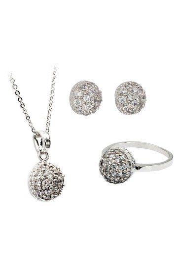 Ocean Fashion Small crystal hemisphere three-piece silver set Image 1