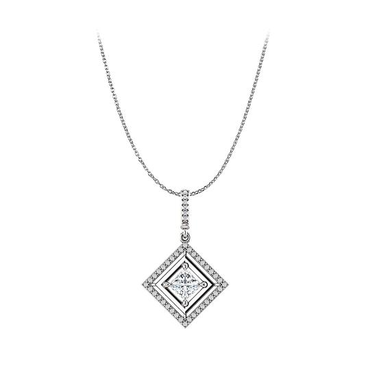 Preload https://img-static.tradesy.com/item/23557993/white-cubic-zirconia-square-pendant-free-18inch-long-chain-necklace-0-0-540-540.jpg
