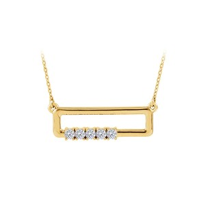 Marco B CZ Rectangle Necklace For Mother in 14K Yellow Gold