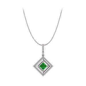 Marco B Emerald and CZ Square Halo Pendant Crafted in 14K Gold