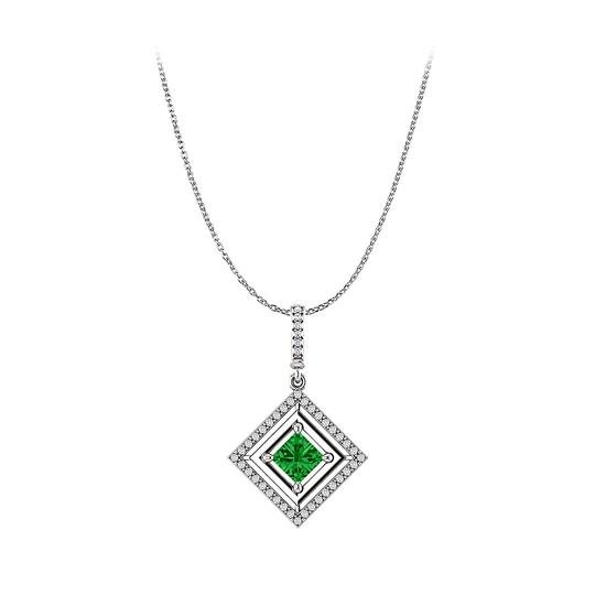 Preload https://img-static.tradesy.com/item/23558036/green-white-gold-emerald-and-cz-square-halo-pendant-crafted-in-14k-necklace-0-0-540-540.jpg