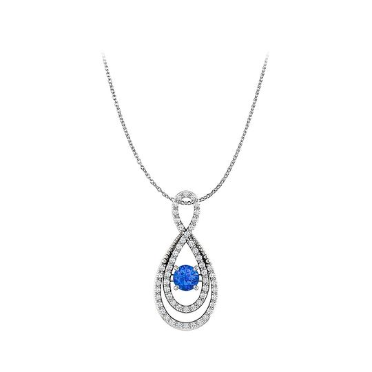 Preload https://img-static.tradesy.com/item/23558122/blue-white-gold-round-sapphire-cz-infinity-pendant-in-14k-necklace-0-0-540-540.jpg