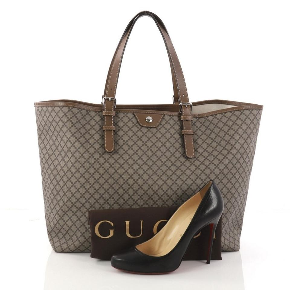 445d528ace2f5b Gucci Belted Diamante Coated Large Brown Canvas Tote - Tradesy