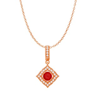 Marco B Round Ruby CZ Halo Square Pendant Rose Gold with Chain