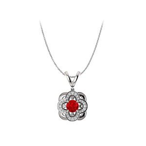 Marco B Round Ruby and CZ Accented Artful Pendant in 14K Gold