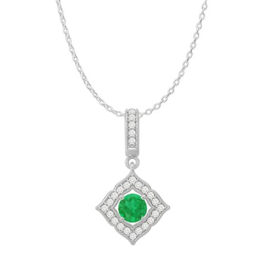 Preload https://img-static.tradesy.com/item/23558163/green-white-gold-round-emerald-cz-halo-square-pendant-14k-necklace-0-0-540-540.jpg