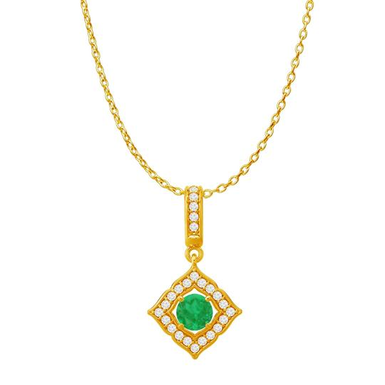 Preload https://img-static.tradesy.com/item/23558197/green-yellow-gold-emerald-cz-halo-square-pendant-14k-125-ct-necklace-0-0-540-540.jpg