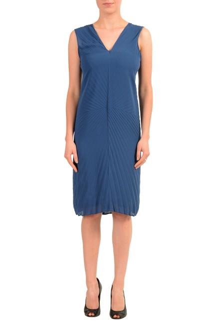 Item - Blue V-11386 Mid-length Short Casual Dress Size 4 (S)