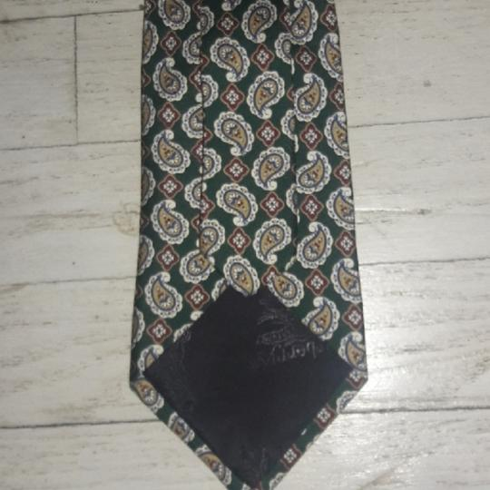 Burberry Silk Paisley Design Colors Green Cream Red Blue 60 In X 4 In Nwot Tie/Bowtie Image 2