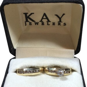 Kay Jewelers Diamond & Gold Engagement Ring Wedding Bridal Set