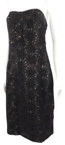 Nicole Miller Floral Strapless Lace Sheath Formal Dress