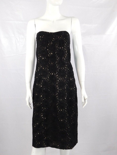 Nicole Miller Floral Strapless Lace Sheath Formal Dress Image 3