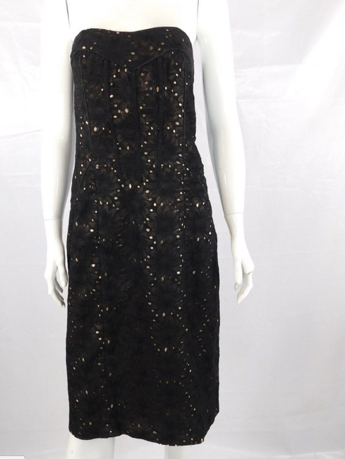 Nicole Miller Floral Strapless Lace Sheath Formal Dress Image 4
