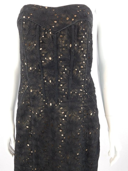Nicole Miller Floral Strapless Lace Sheath Formal Dress Image 6