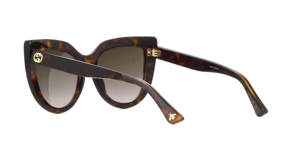 2455c1ef58 Gucci Gucci GG0164S 002 Cat Eye Sunglasses Havana Brown Frame Brown Lenses  Image 4. 12345