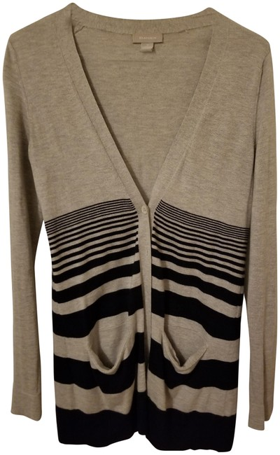 Item - Grey Silk and Cashmere with Navy Stripe Cardigan Size 4 (S)