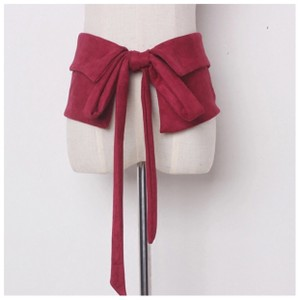 Handmade Handmade Burgundy Red Microfiber Wide Tie Belt