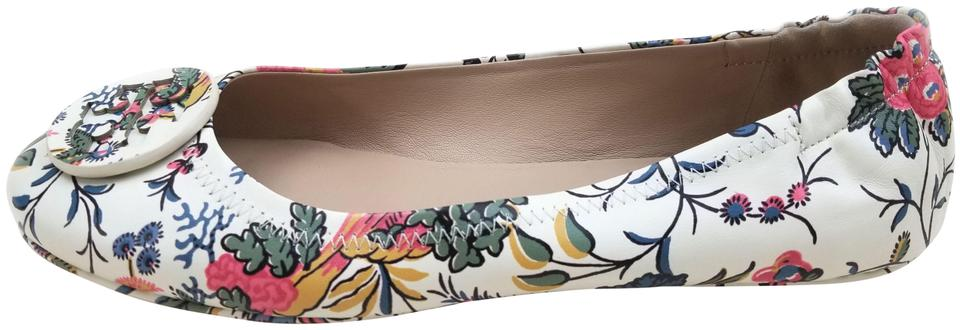 3d3b3417cafae1 Tory Burch Gabriella Floral New Ivory  minnie  Travel Ballet Flats ...