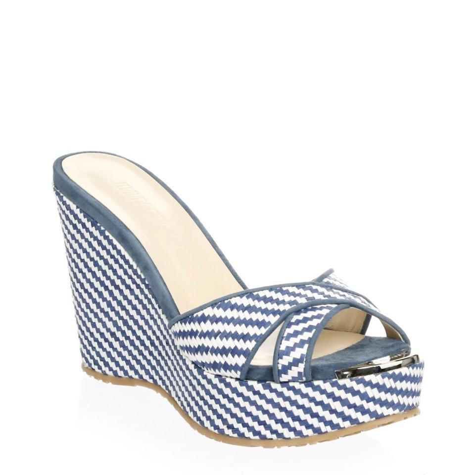 02c13bfd132 Jimmy Choo Blue White Woven Perfume Sandals Wedges Size US 8 Regular ...