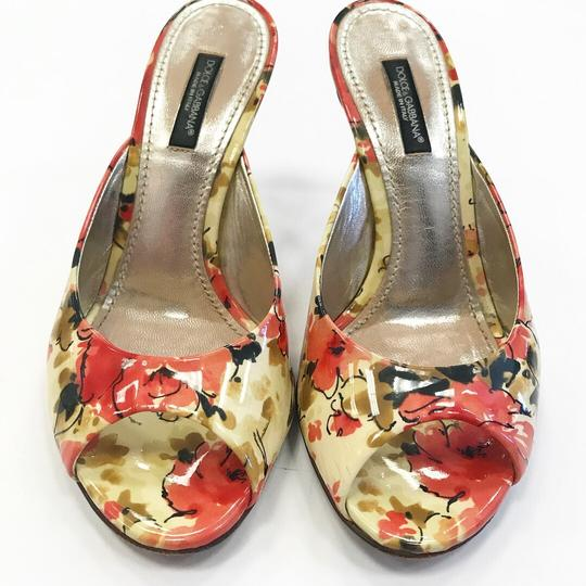 Dolce&Gabbana Floral Open Toe Summer Patent Leather Leather Multi Pumps Image 1