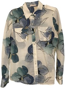 Tory Burch Blouse Button Down Shirt Ivory, blue and green floral