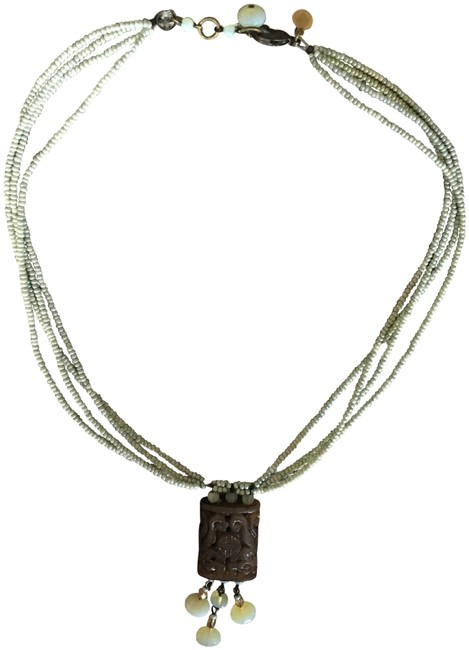 Item - Turquoise Beaded with Jade Pendant Necklace