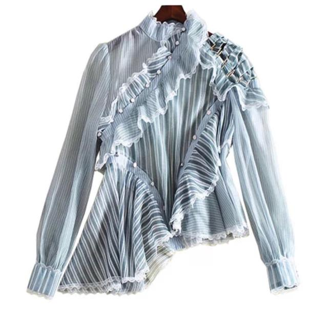 Preload https://img-static.tradesy.com/item/23559141/blue-fabulous-stripe-sheer-ruffle-runway-blouse-size-4-s-0-0-650-650.jpg