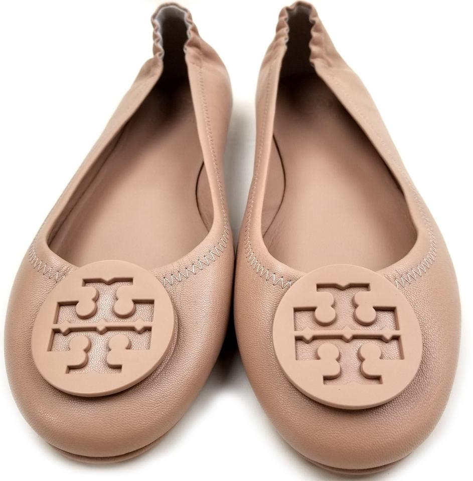 5277aeb36 Tory Burch Travel Ballet Tonal Logo Rubber Outsole T Logo Medallion Folds  In Half Goan Sand. 12345678