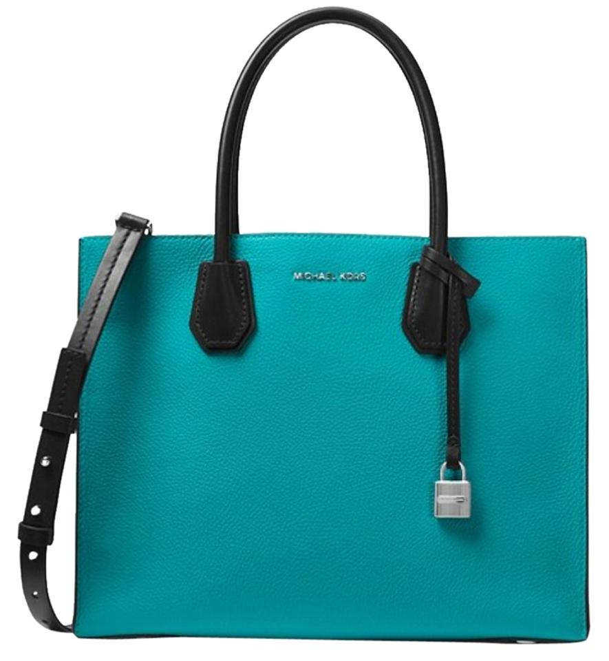 a8b75983f21873 Michael Kors Mercer Larger Blue Leather Tote - Tradesy