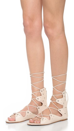 IRO Lace Up Greekstyle Studded Nude Sandals Image 1
