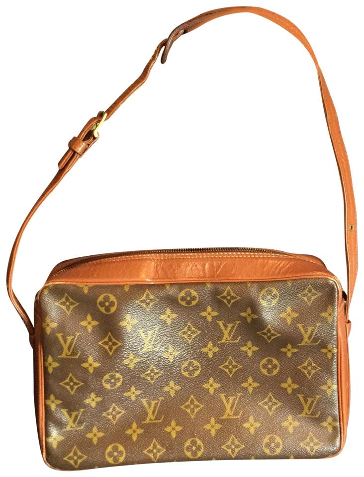 64a111f0a359a Louis Vuitton Vintage 70 s Brown Tan Coated Lv Canvas and Rich ...