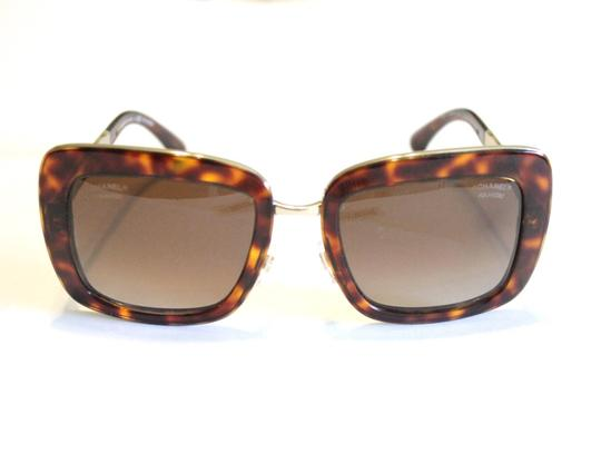 Chanel Chanel Brown Tortoise Polarized Sunglasses 5369 Gold Tone Quilted Arms Image 3