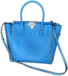 Valentino Studded Leather Handbag Rockstud Tote in Blue