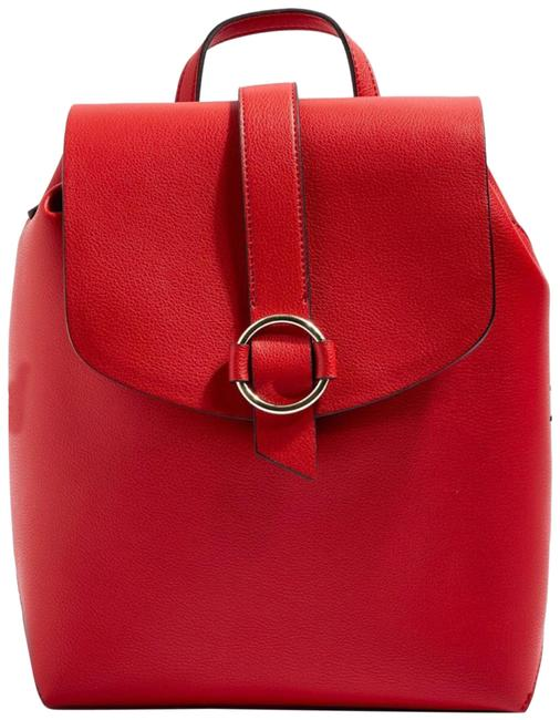 Item - Leather Mini Ring Red Polyurethane Backpack