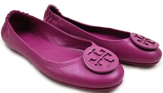 Tory Burch Travel Ballet Tonal Logo Rubber Outsole T Logo Medallion Folds In Half Fuchsia Flats Image 3