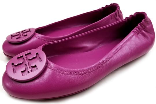 Tory Burch Travel Ballet Tonal Logo Rubber Outsole T Logo Medallion Folds In Half Fuchsia Flats Image 4