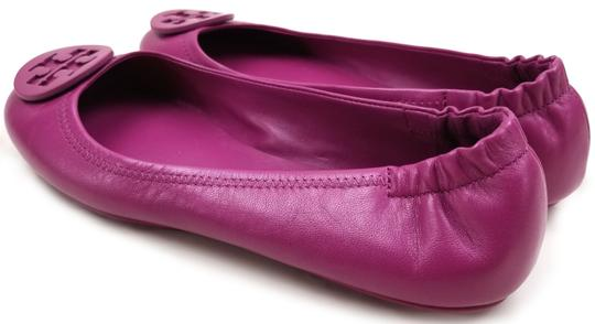 Tory Burch Travel Ballet Tonal Logo Rubber Outsole T Logo Medallion Folds In Half Fuchsia Flats Image 6
