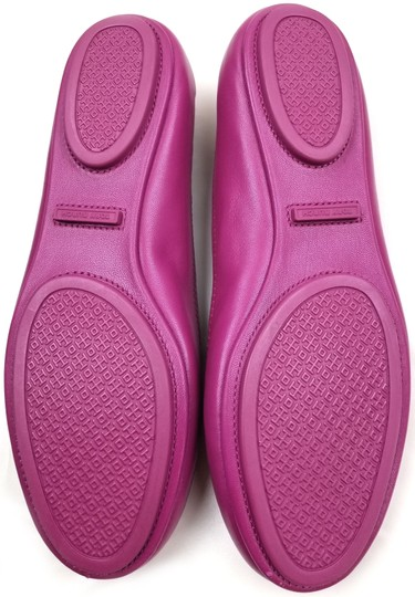Tory Burch Travel Ballet Tonal Logo Rubber Outsole T Logo Medallion Folds In Half Fuchsia Flats Image 7