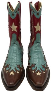 Lucchese Brown, Turquoise, Red and White Boots