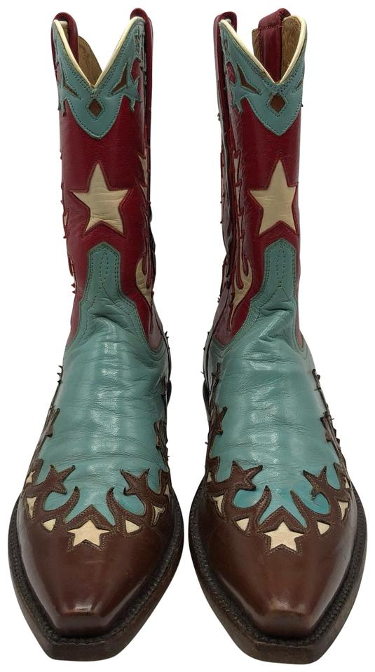 2318de2adb3 Lucchese Brown Turquoise Red and White Handmade Custom Cowboy Boots/Booties  Size US 5 Narrow (Aa, N) 46% off retail