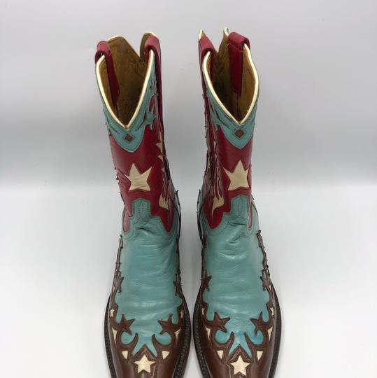 Lucchese Brown, Turquoise, Red and White Boots Image 1