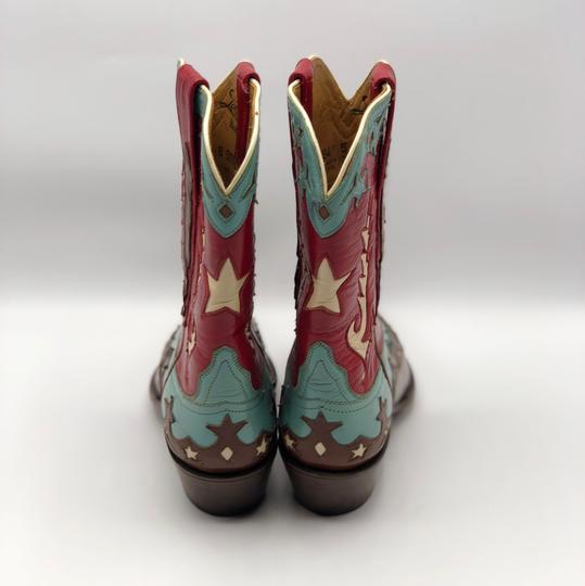 Lucchese Brown, Turquoise, Red and White Boots Image 3