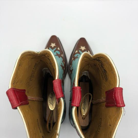 Lucchese Brown, Turquoise, Red and White Boots Image 5