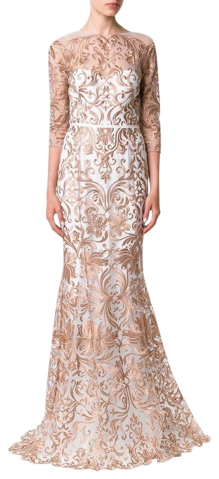 7d5a5aa4 Marchesa Notte Ivory Gold Metallic Embroidery Mermaid Tulle 0 Long ...