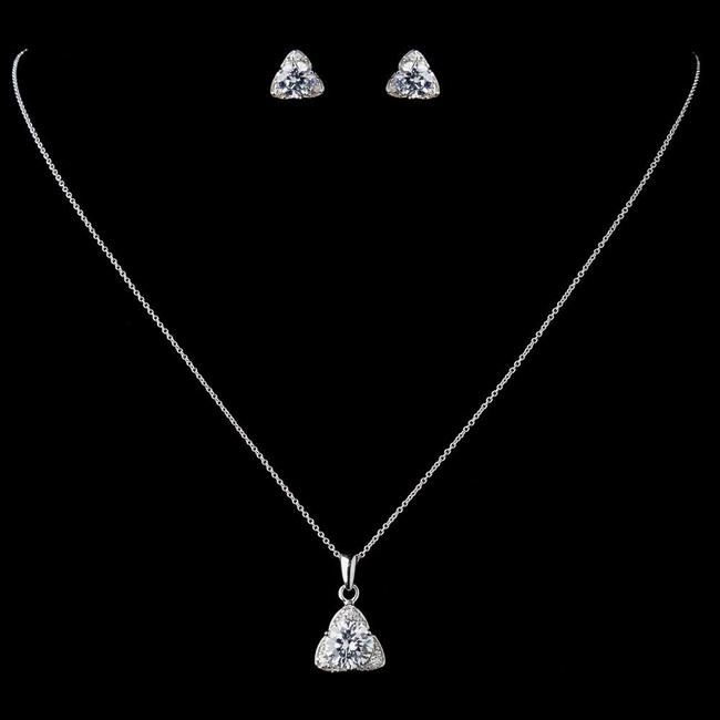 Item - Silver Sterling Cz Crystal Triangle Pendent Drop Necklace Earrings Jewelry Set