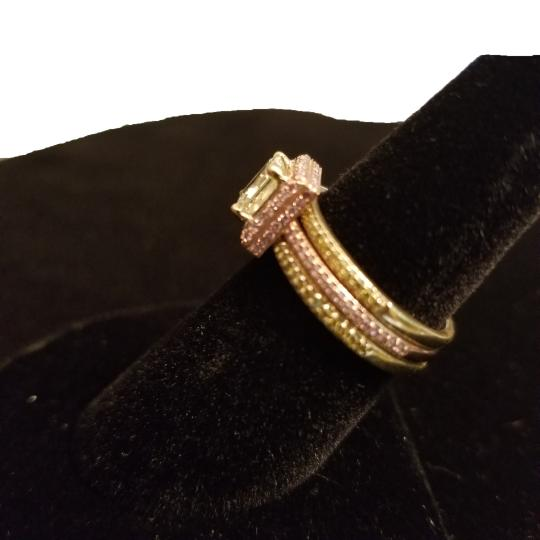 Boutique Europa 3 Rings Set Of Natural Fancy Yellow and Pink Diamonds. Size 52. Women's Wedding Band Image 1
